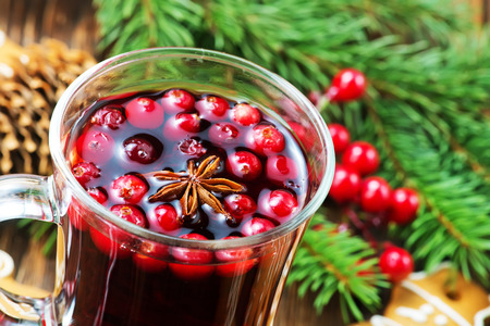 christmas drink with aroma spice on a table Stock Photo