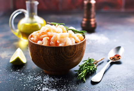 boiled shrimps with pepper and salt on plate
