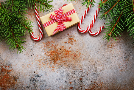 christmas decoration and gifts on a table Stock Photo