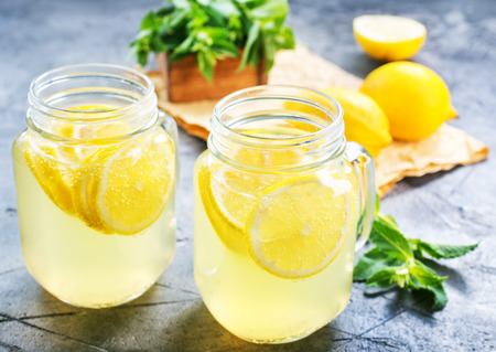 lemonade with fresh mint on a table