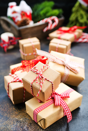 christmas decoration, box for present on a table Stock Photo