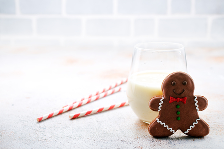 gingerbread with milk on a table, stock photo Stock Photo