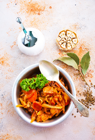 Cabbage stew with other vegetables and meat Stock Photo - 92094121