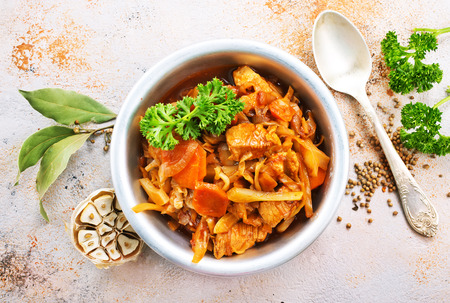 Cabbage stew with other vegetables and meat Stock Photo - 92094131
