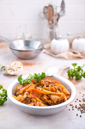 Cabbage stew with other vegetables and meat Stock Photo - 92094165