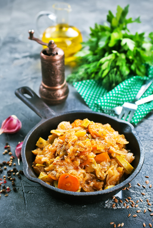 Cabbage stew with other vegetables and meat