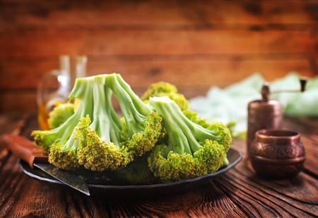 broccoli on a table, fresh broccoli, stock photo Stock Photo