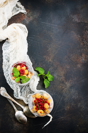 pudding with chia seeds and fresh berries Stock Photo