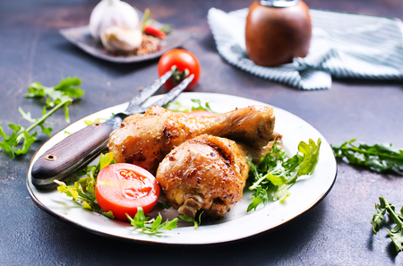 chicken legs fried with spice and salt, fresh dinner