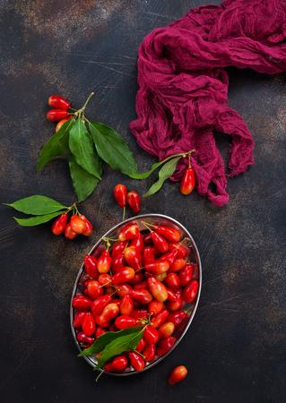 Ripe juicy berries of dogwood. Stock Photo