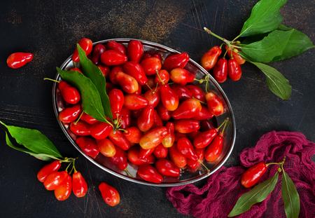 Ripe juicy berries of dogwood. Banco de Imagens