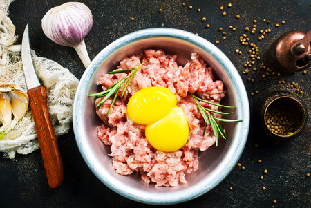 Minced meat with raw egg and salt