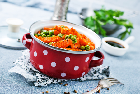 fried carrot with green peas