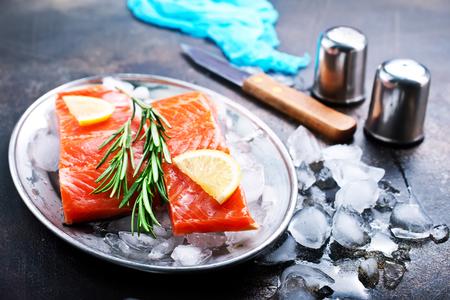 raw salmon with fresh lemon and salt