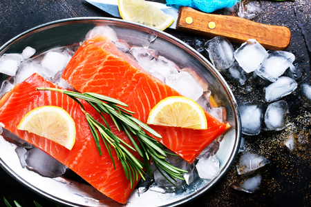 raw salmon with fresh lemon and salt