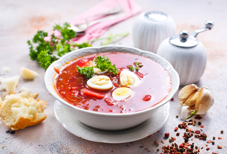 Traditional Ukrainian borsch, red beet soup with boiled eggs Stock fotó - 96559579