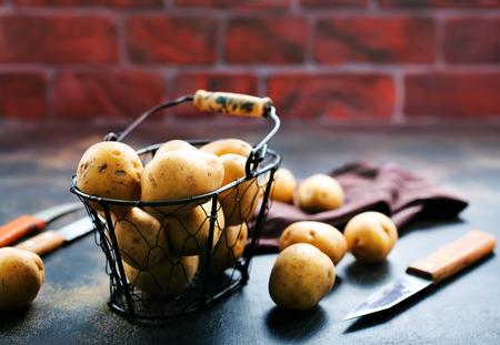 raw potato, potato in metal basket