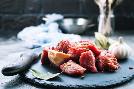 raw meat with salt and spice Stock Photo