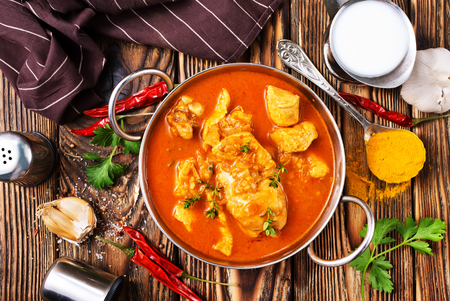Traditional Indian dish chicken. Spicy chicken curry in bowl Stock Photo