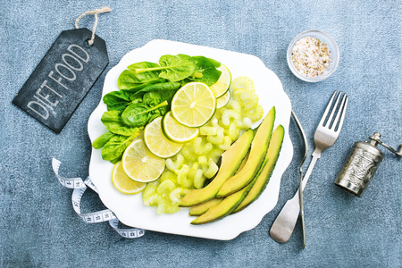 slice of fresh lime and avocado, stock photo