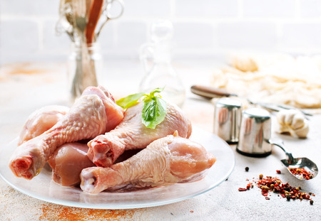raw chicken legs with spice and salt, chicken legs on plate