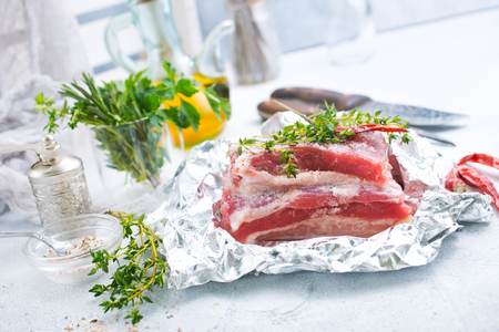 raw meat with aroma spice and salt, stock photo Stock Photo