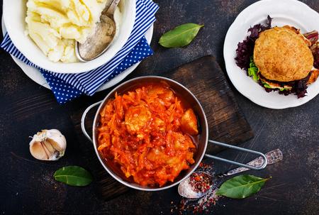 fried cabbage and mashed potato, stock photo