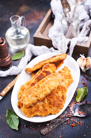fried fish fillets on white plate, fried fish