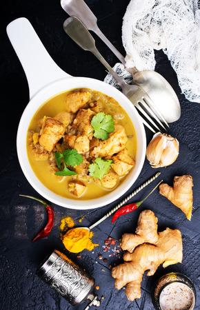 curry chicken in bowl, chicken with sauce