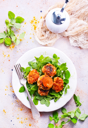 cutlets with sauce and fresh salad, cutlets on white plate Stockfoto