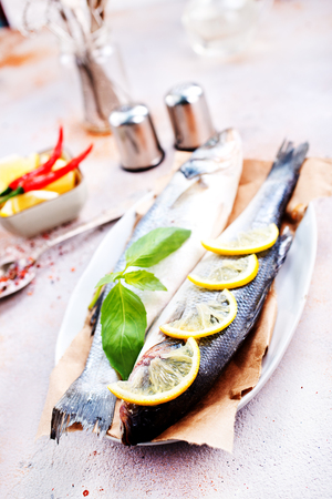 raw fish on plate, fish and aroma spices