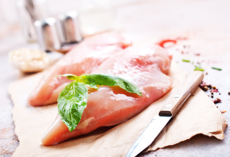 raw chicken fillet with spice and salt. chicken fillet on board, stock photo