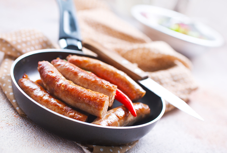 sausages with spice, meat sausages, stock photo