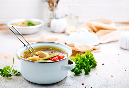 vegetable soup in bowl, stock photo Stok Fotoğraf