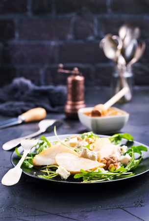 pear with honey nuts cheese, stock photo