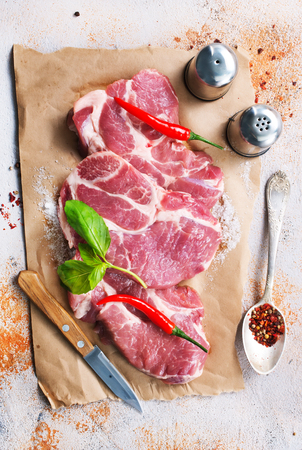 raw meat with spice and salt, raw meat on paper Stock Photo - 98256324
