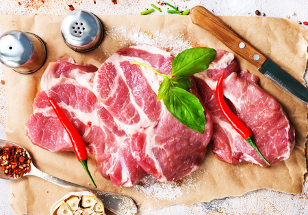 raw meat with spice and salt, raw meat on paper Stock Photo - 98256326