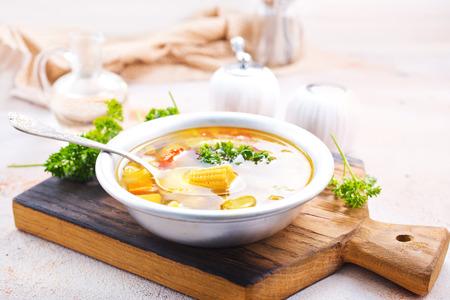vegetable soup in bowl, stock photo Stockfoto