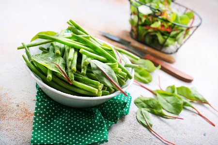 green beans and fresh greens Stok Fotoğraf - 99290360