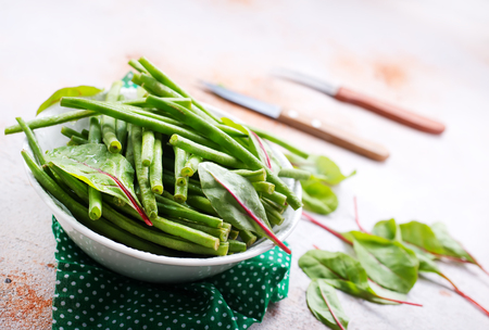 green beans and fresh greens Stok Fotoğraf - 99290620