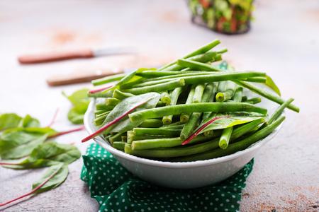 green beans and fresh greens Stok Fotoğraf - 99290825
