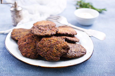 liver pancakes on plate, fried liver pancakes