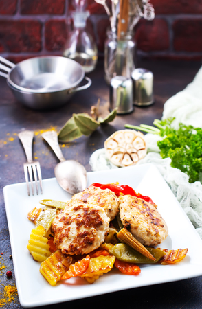 baked chicken vegetables with cutlets