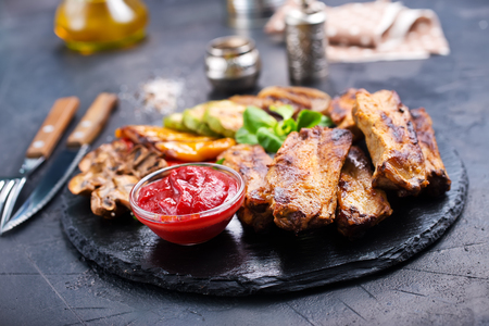 grilled meat, meat with sauce