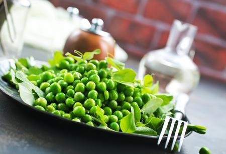 green peas on plate, fresh green peas