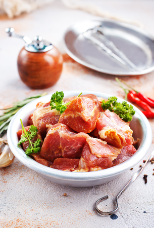 raw meat with spice and salt, raw meat for kebab