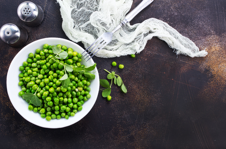 green peas in bowl Stock Photo