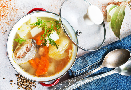 fish soup with vegetables, fish soup in bowl
