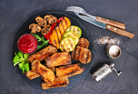 grilled vegetables and ribs, vegetable and ribs with sauce aroma spice fresh salad