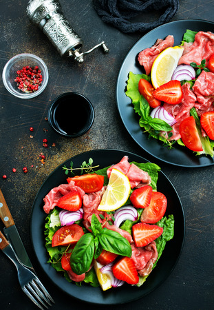 salad with fresh strawberry carpaccio vegetables